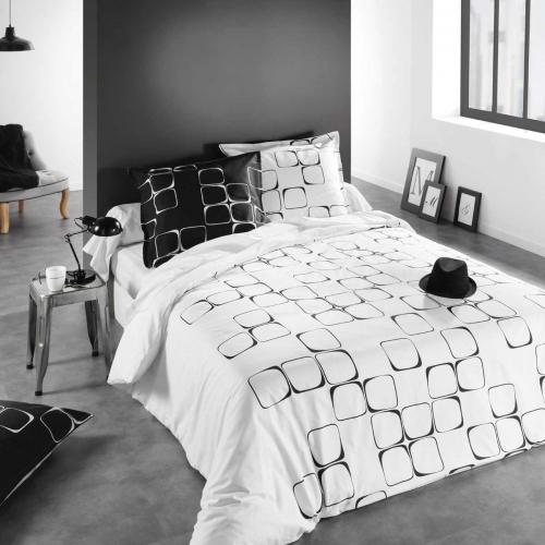 housse de couette taie black to white c design home textile. Black Bedroom Furniture Sets. Home Design Ideas