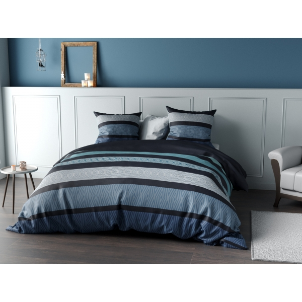 parure de lit percale belize bleue c design home textile. Black Bedroom Furniture Sets. Home Design Ideas